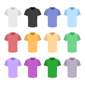 Plain T-shirt Color Template Set in Flat Design Style. Vector